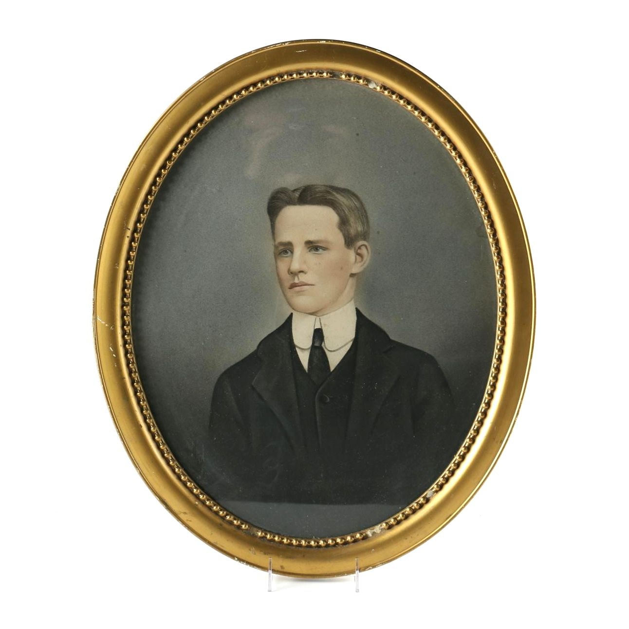 Early 20th Century Colored Pencil on Paper Portrait of Young Man
