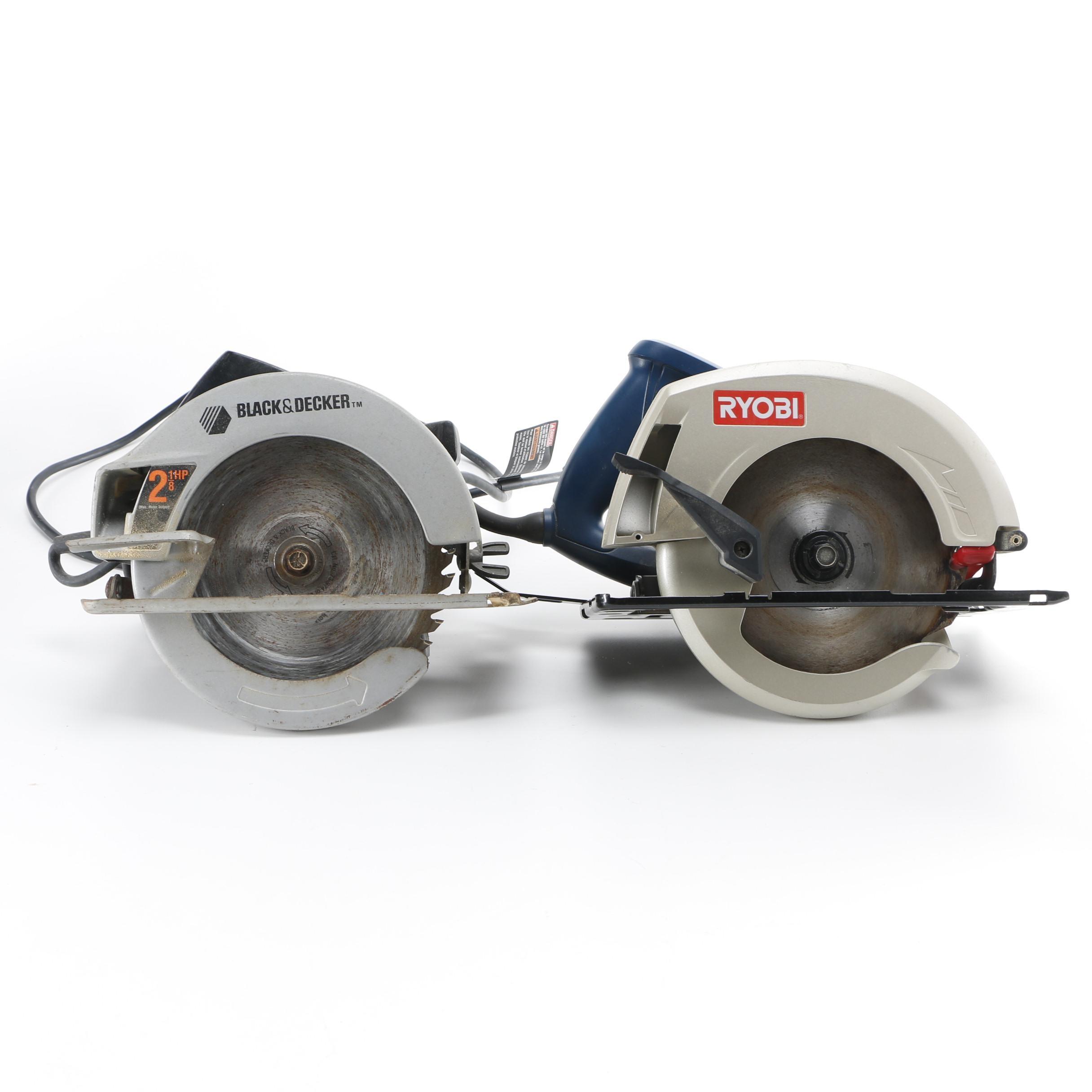 Electric Circular Saws Including Black & Decker and Ryobi