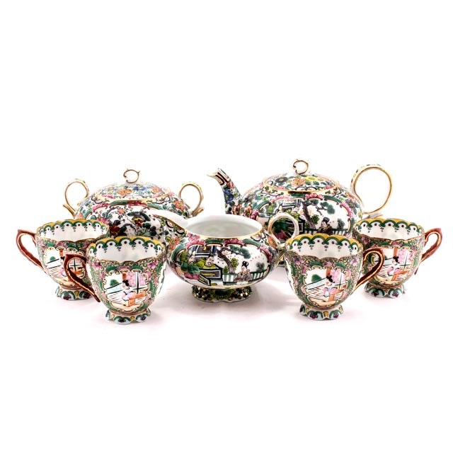 Late 19th Century Chinese Rose Medallion Seven Piece Tea Set