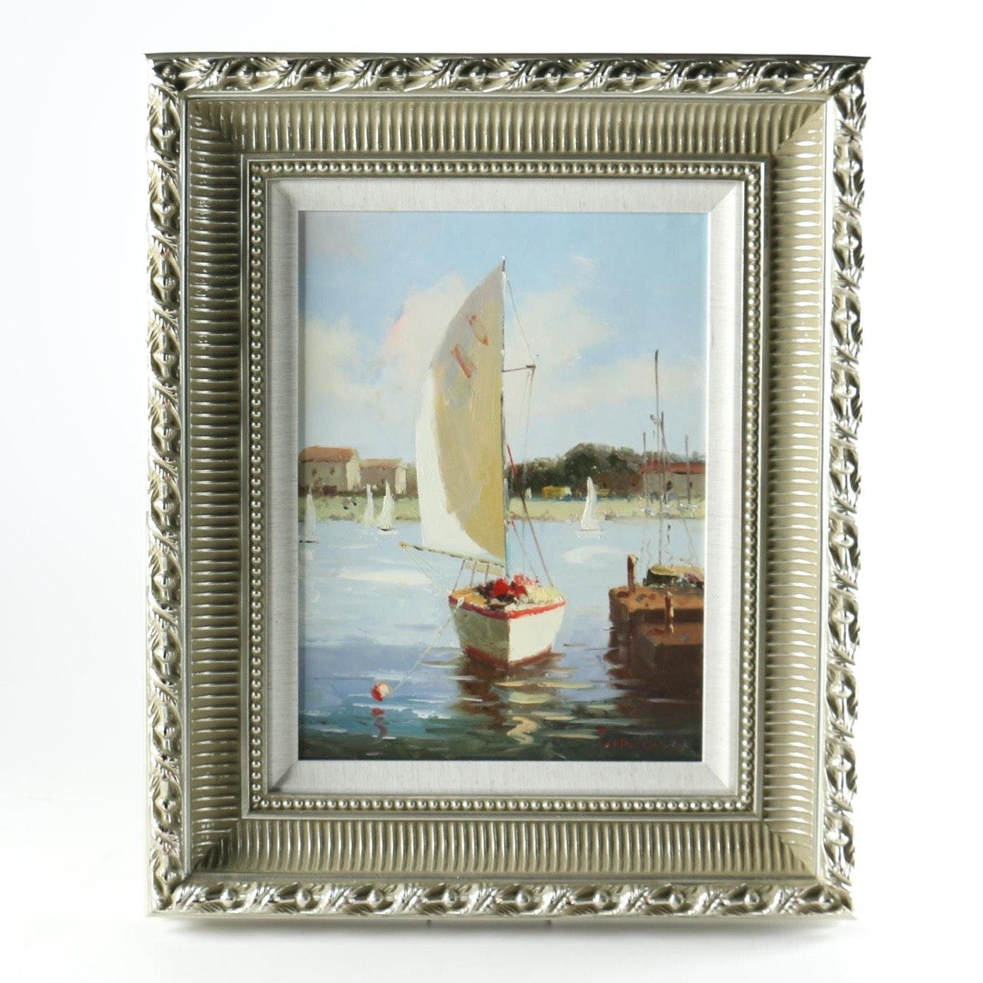 Oil on Canvas of Sailboat