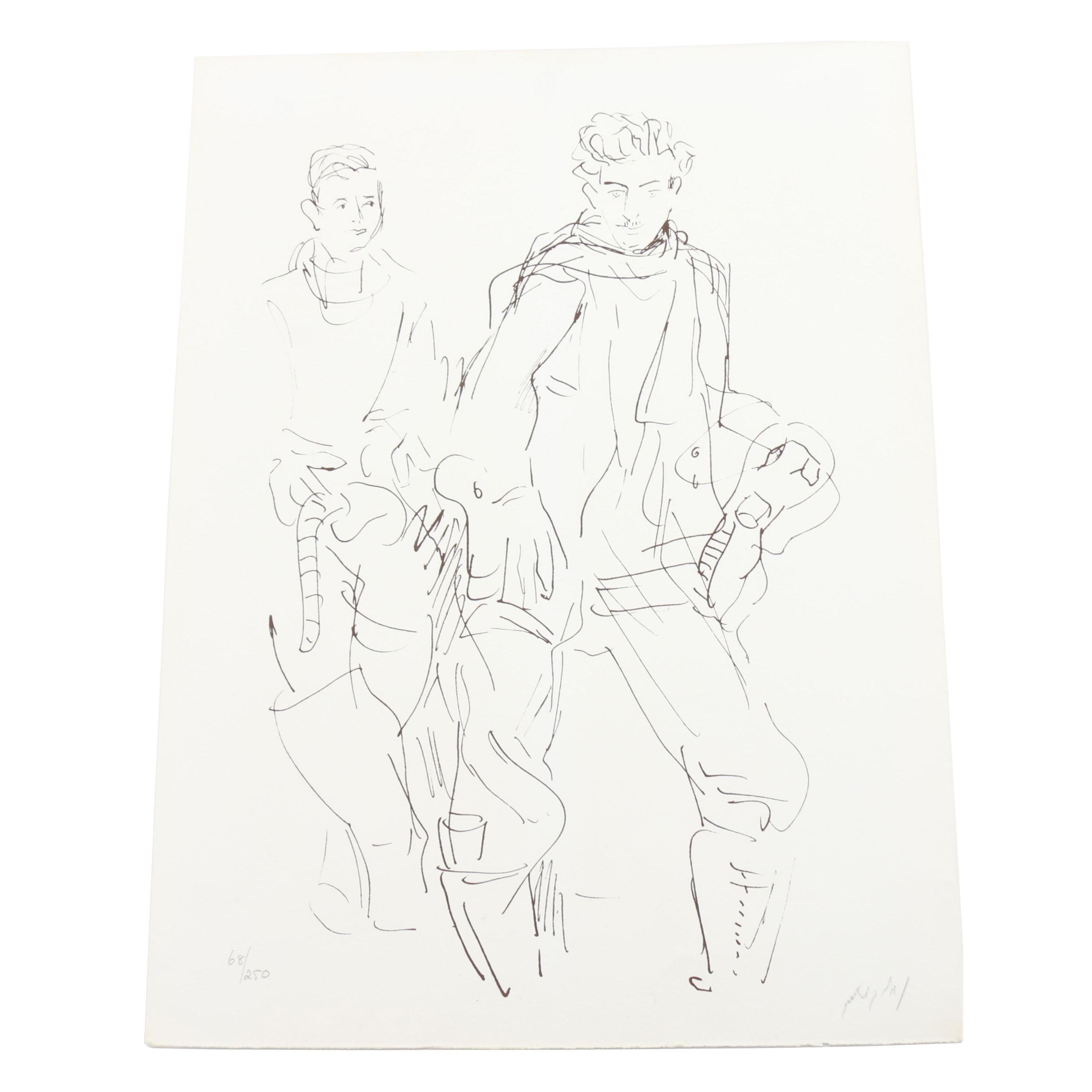Limited Edition Lithograph of Two Men