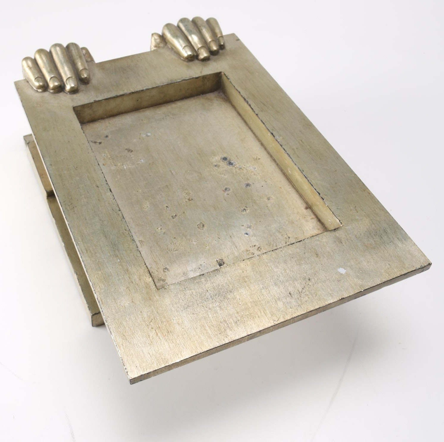 Metal Tray With Decorative Hands