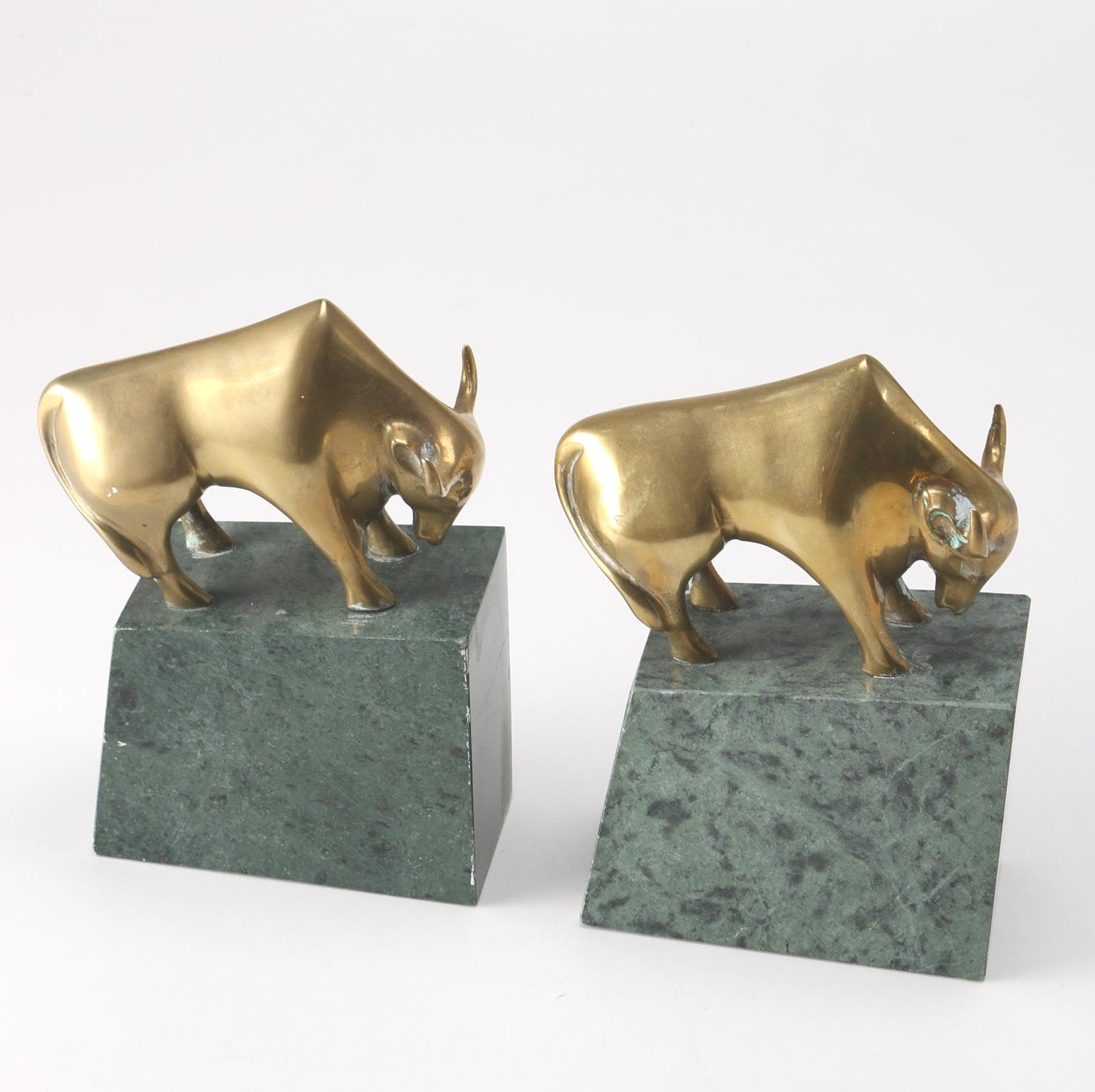 Pair of Brass Bull Bookends With Marble Bases