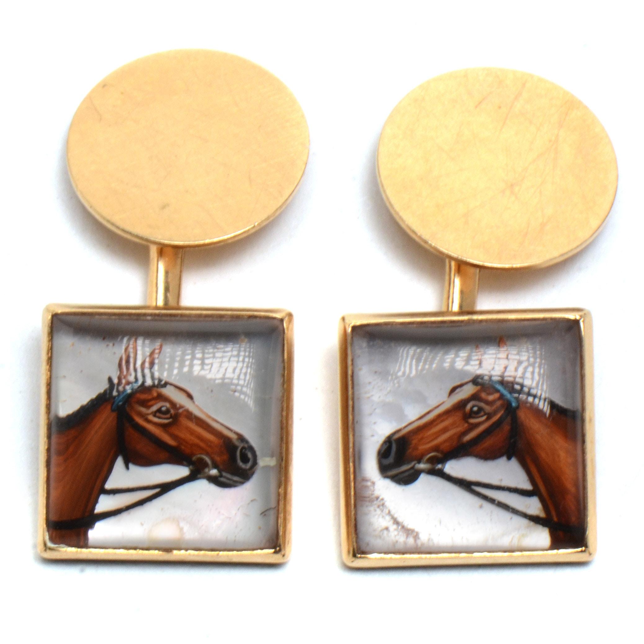 Men's Vintage 14K Yellow Gold Hand Decorated Equestrian Cufflinks