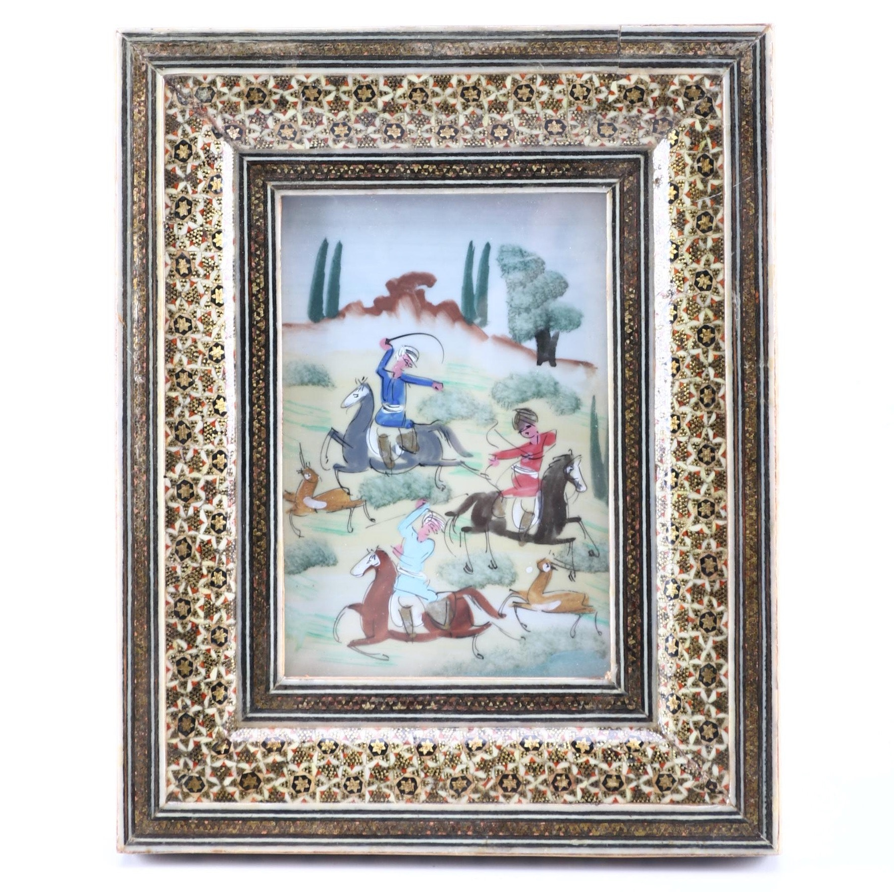 Hand Painted Indo-Persian Porcelain Tile of Mounted Hunters in an Ornate Inlay Frame