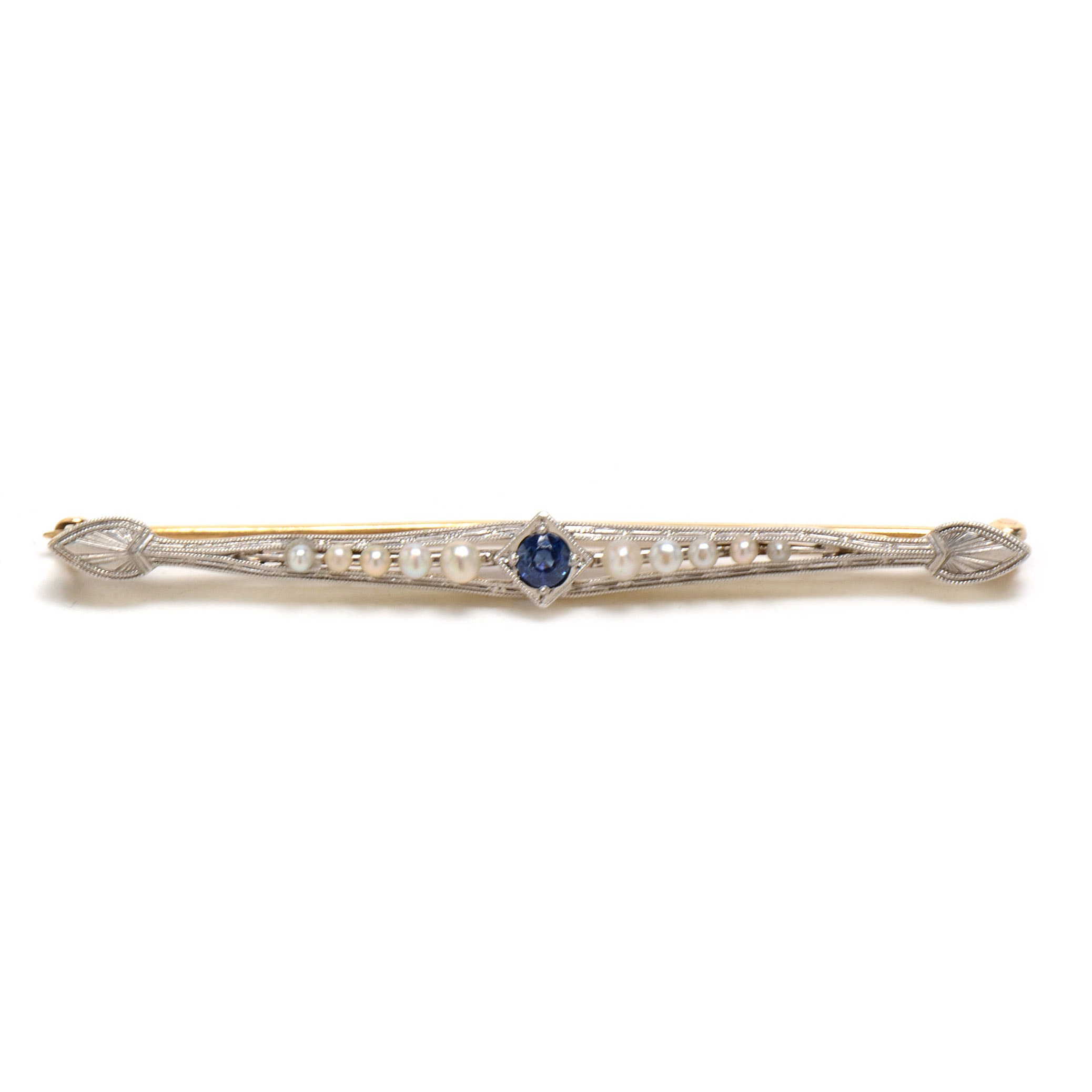 Edwardian Platinum and 14K Gold Blue Sapphire and Pearl Bar Pin