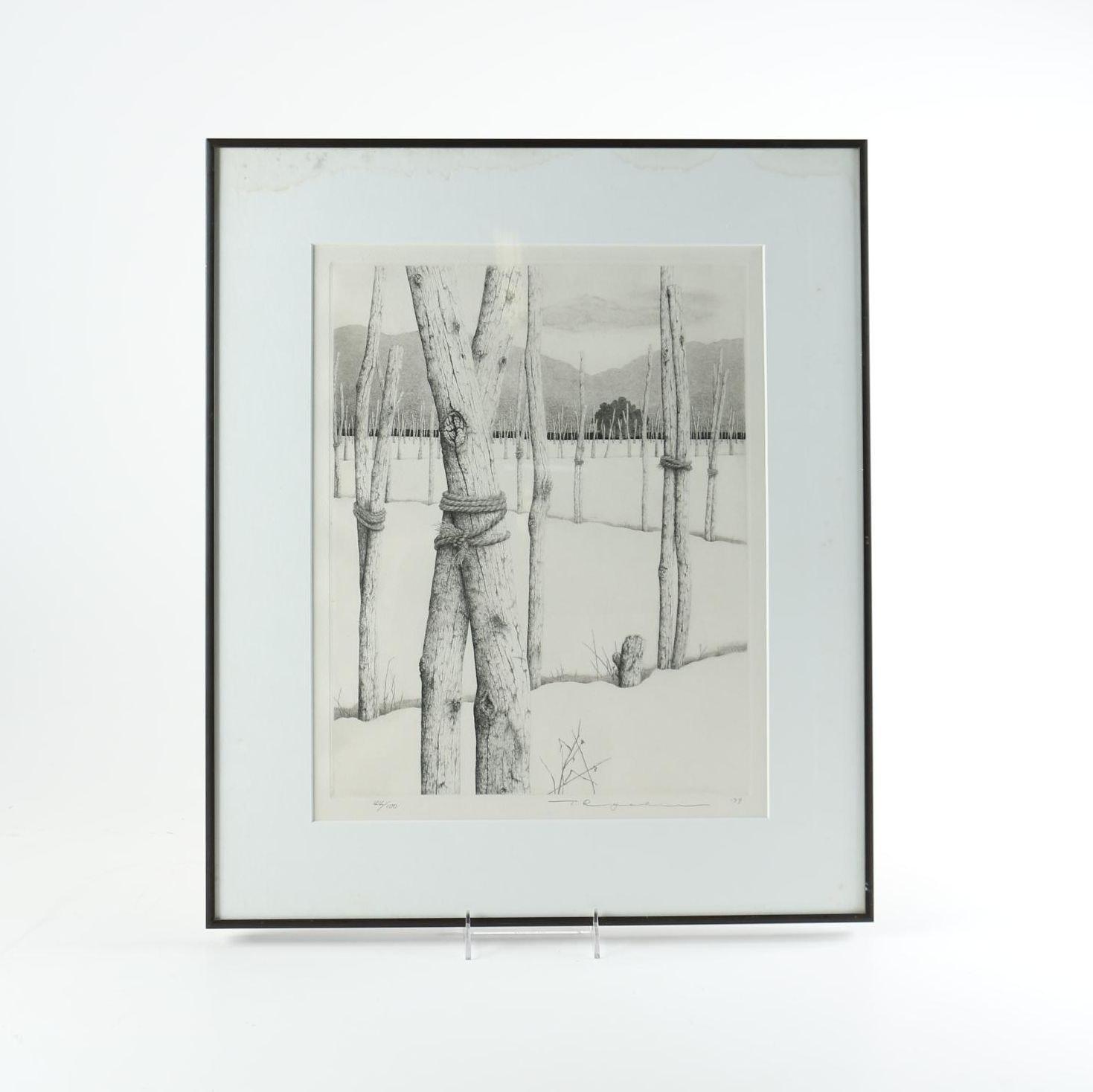 """1979 Tanaka Ryōhei Limtied Edition Etching """"Yogo Snow"""""""