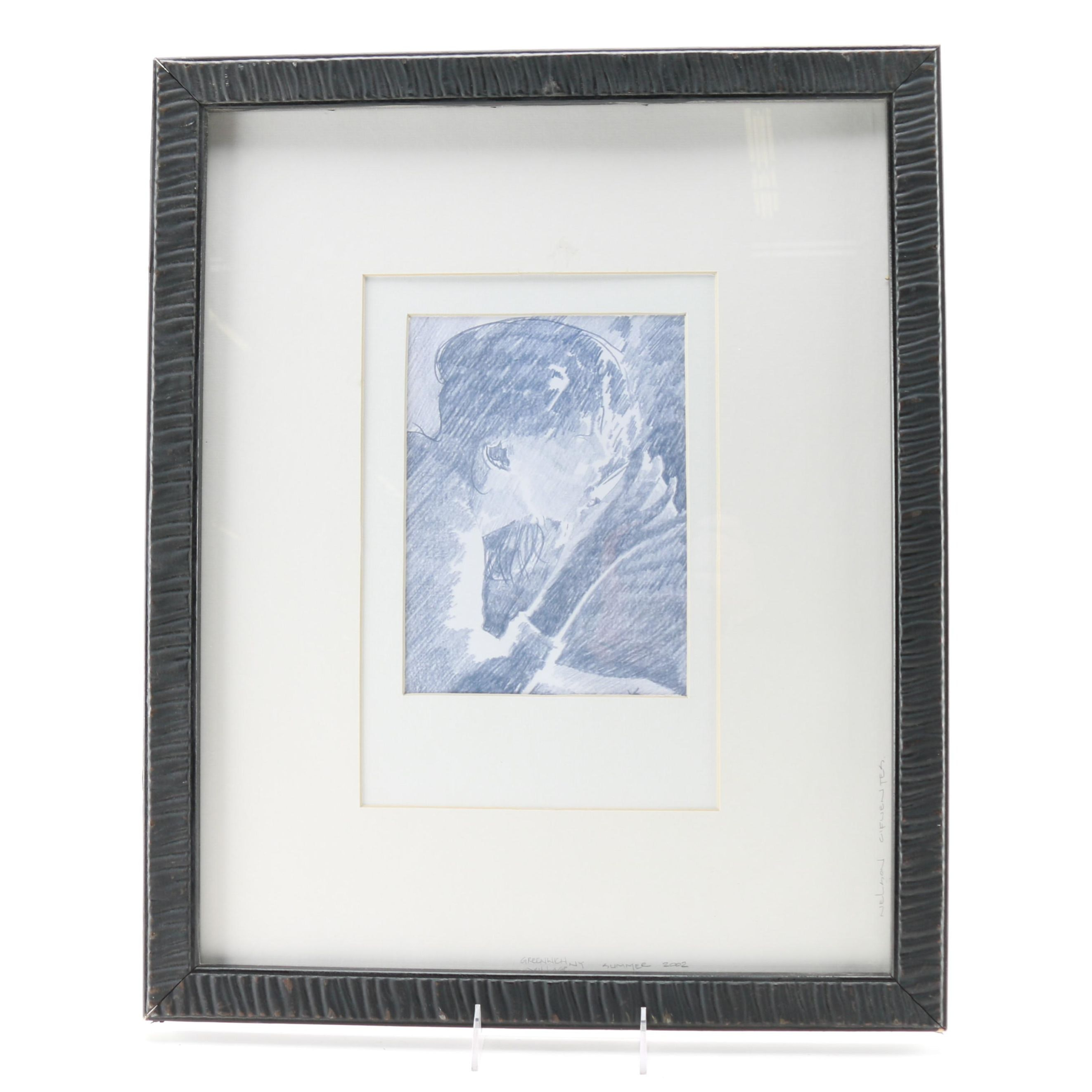 2002 Nelson Cifuentes Colored Pencil Drawing of Woman in Greenwich Village