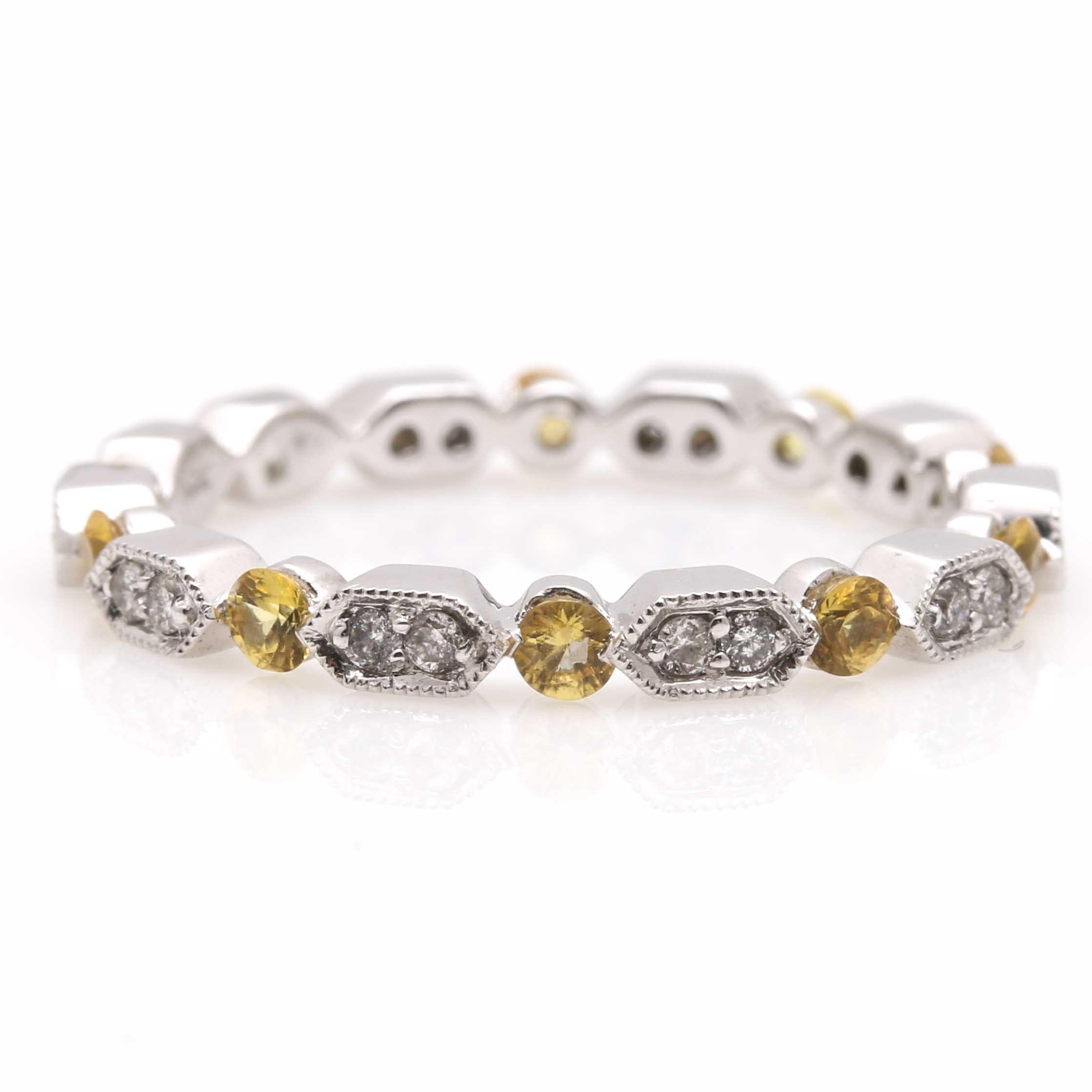 18K White Gold Yellow Sapphire and Diamond Ring
