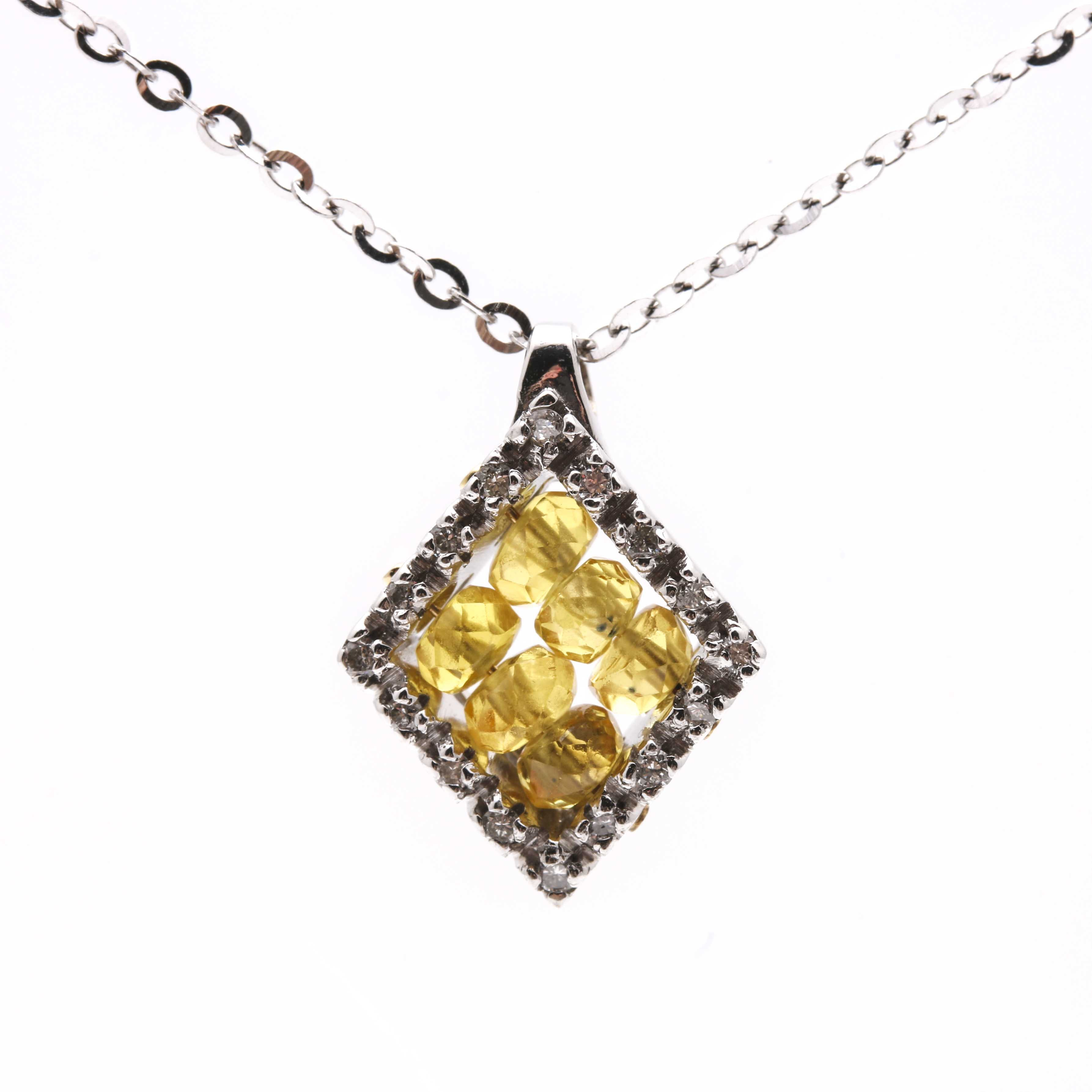 18K White Gold Necklace With Yellow Sapphire Pendant
