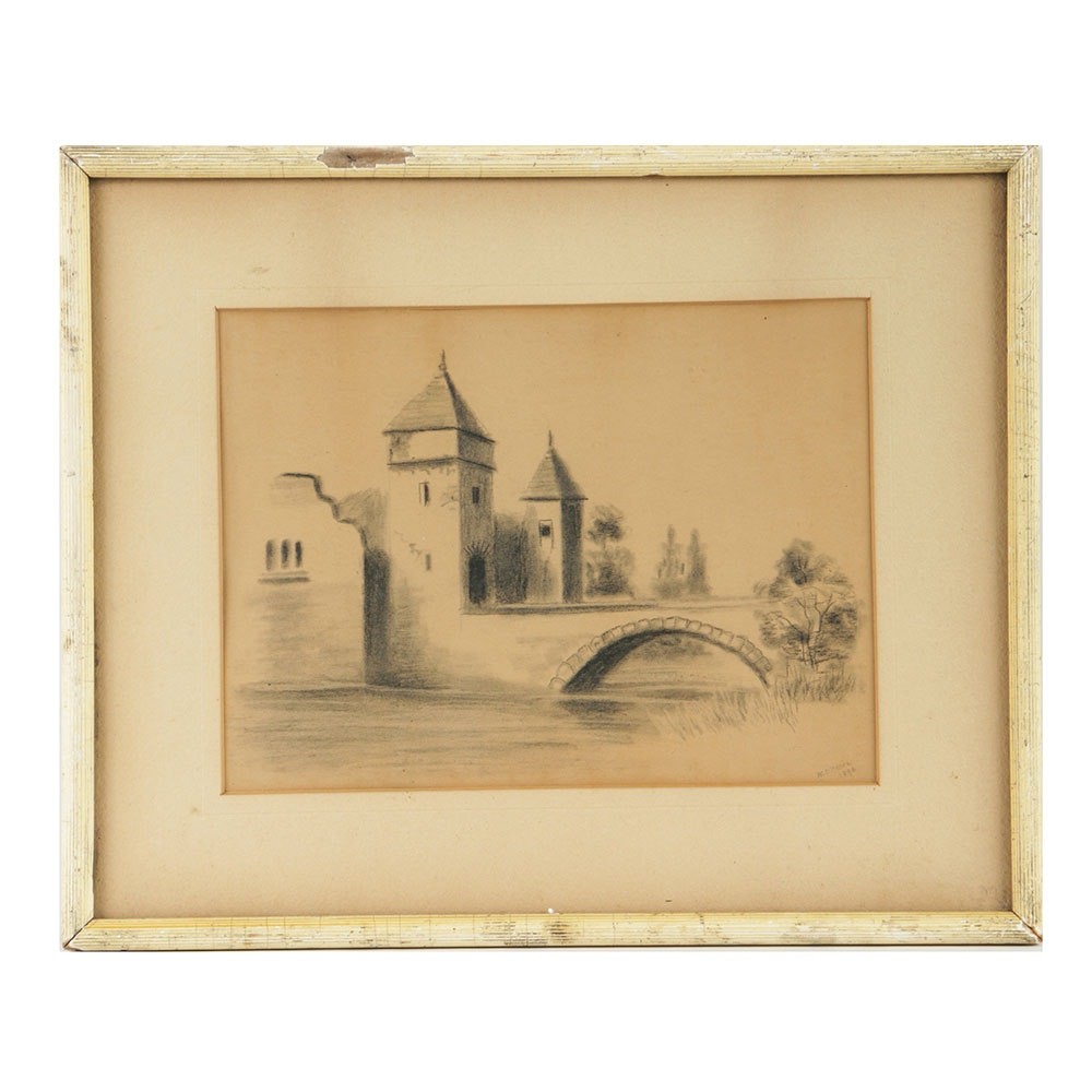 W. O'Meara Late 19th Century Charcoal Drawing on Paper Landscape