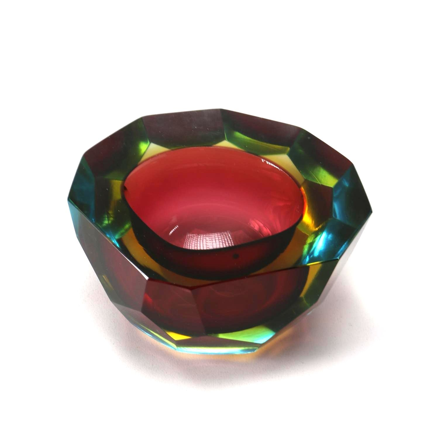 Hand Worked Multi-Faceted Art Glass Bowl