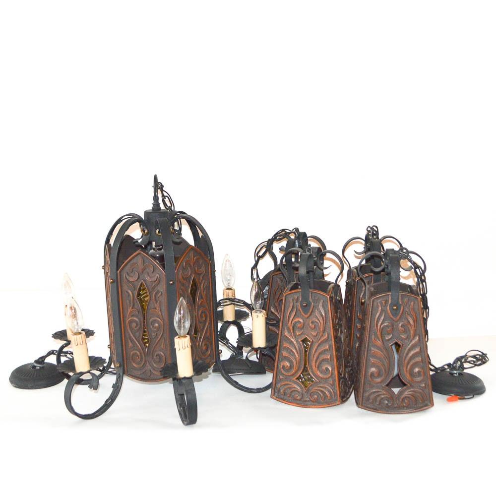 Five Piece Spanish Style Chandelier Set