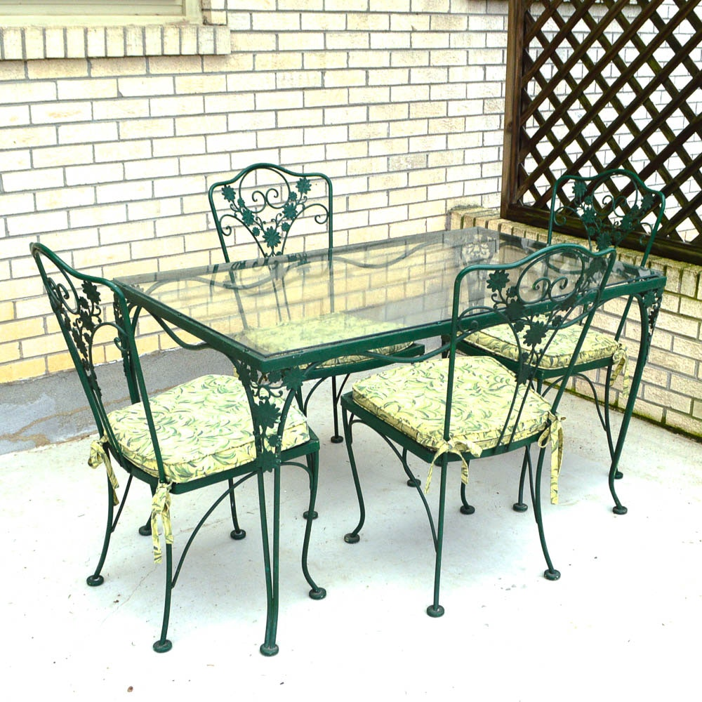 Vintage Woodard Glass Top Wrought Iron Table And Four