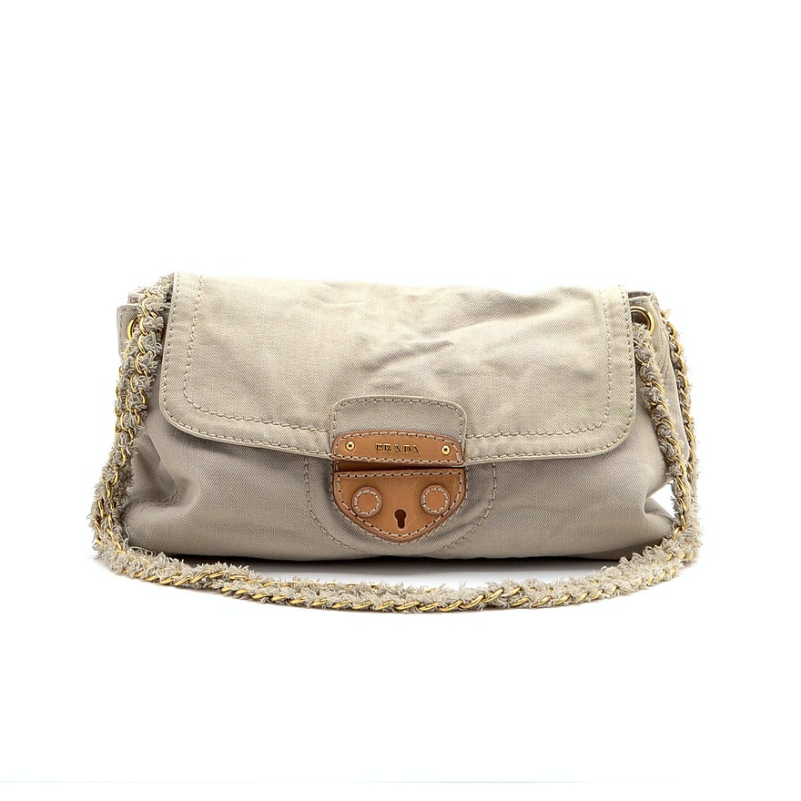 557b64b061 Prada Canvas and Tweed Shoulder Bag   EBTH