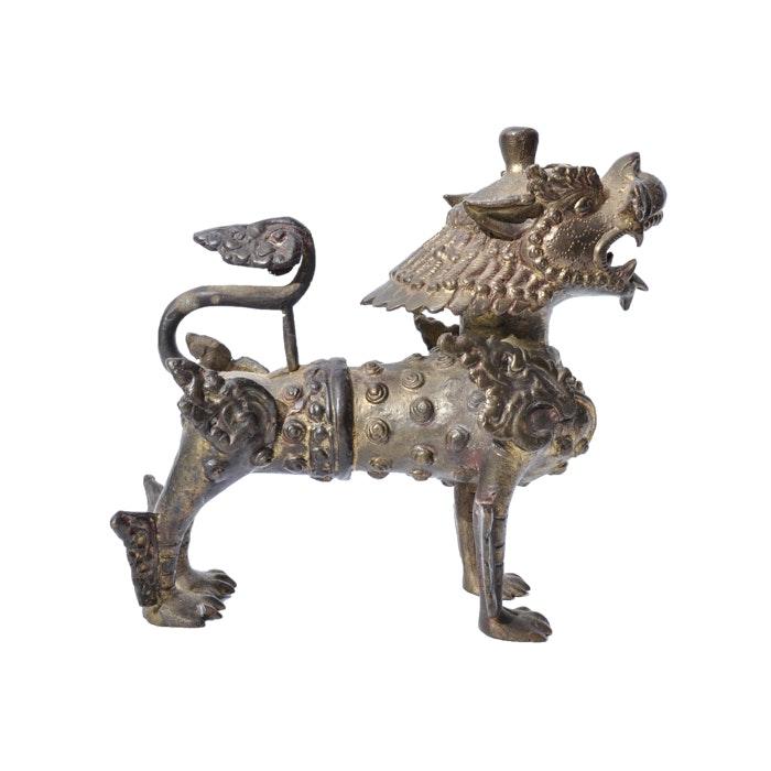 Sino-Tibetan Cast Metal Guardian Lion Figurine