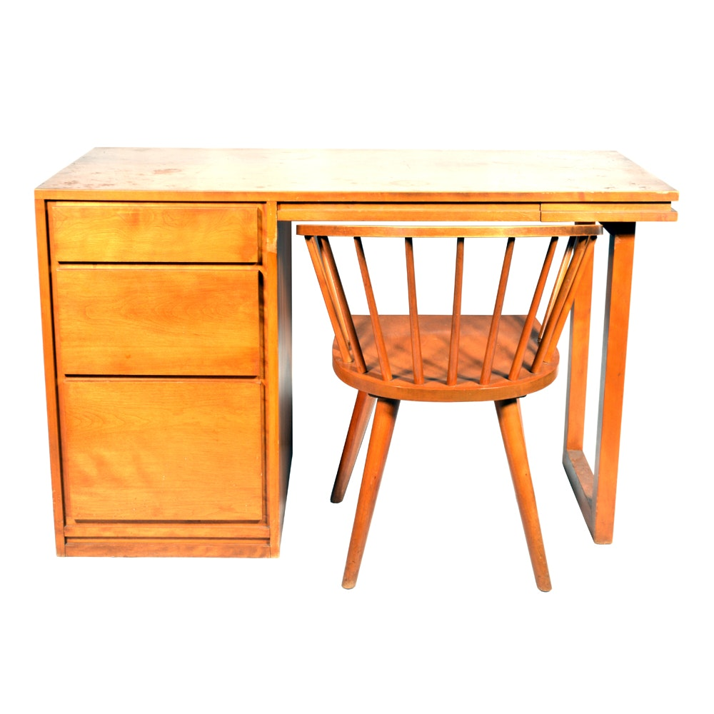 Russel Wright for Conant Ball Mid Century Modern Birch Desk and Chair