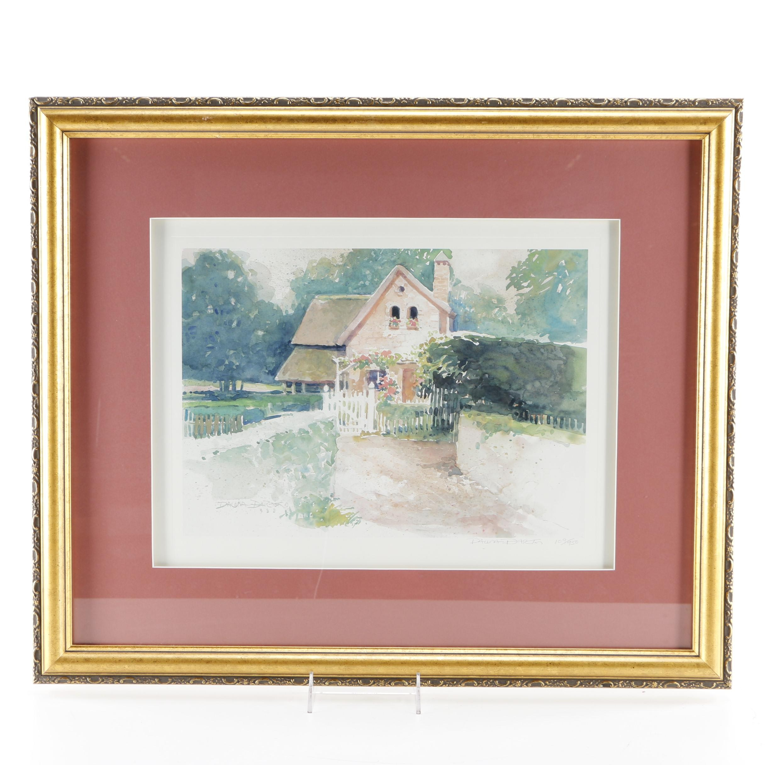 Dawna Barton Signed Limited Edition Offset Lithograph of a Cottage