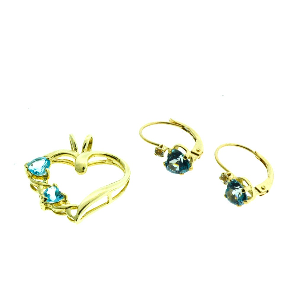 Blue Topaz Heart Yellow Gold Pendant and Earrings