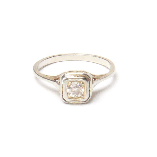 Edwardian 14K White Gold Diamond Ring