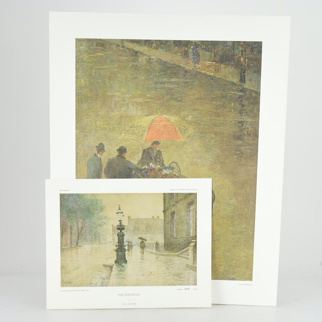 "Paul Sawyier Limited Edition Prints ""The Street Peddler"" and ""The Fountain"""
