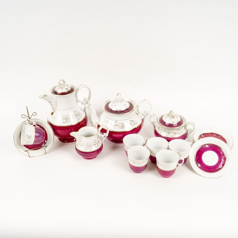 Antique Cranberry Porcelain Tea Set