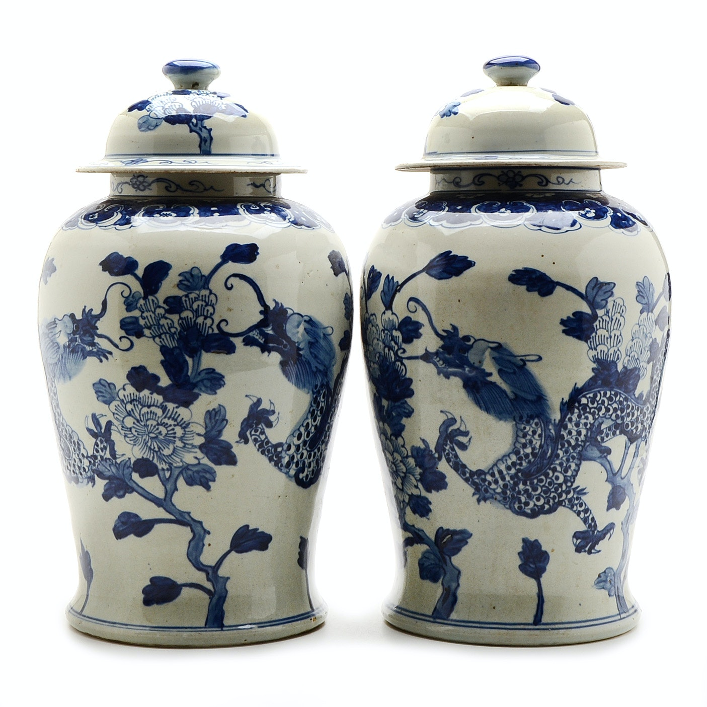 Pair of Large Antique Chinese Hand-painted Ginger Jars