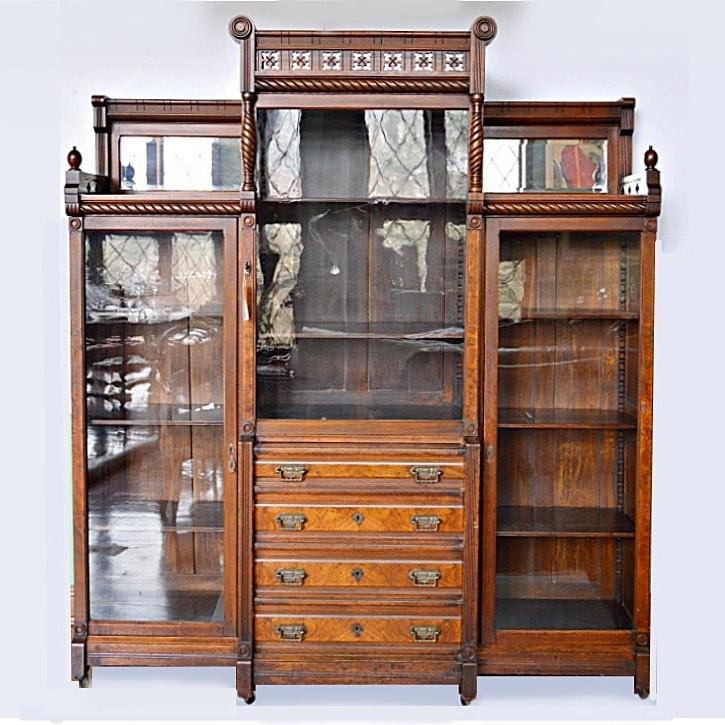 Victorian Eastlake Walnut Triple Bookcase Cabinet
