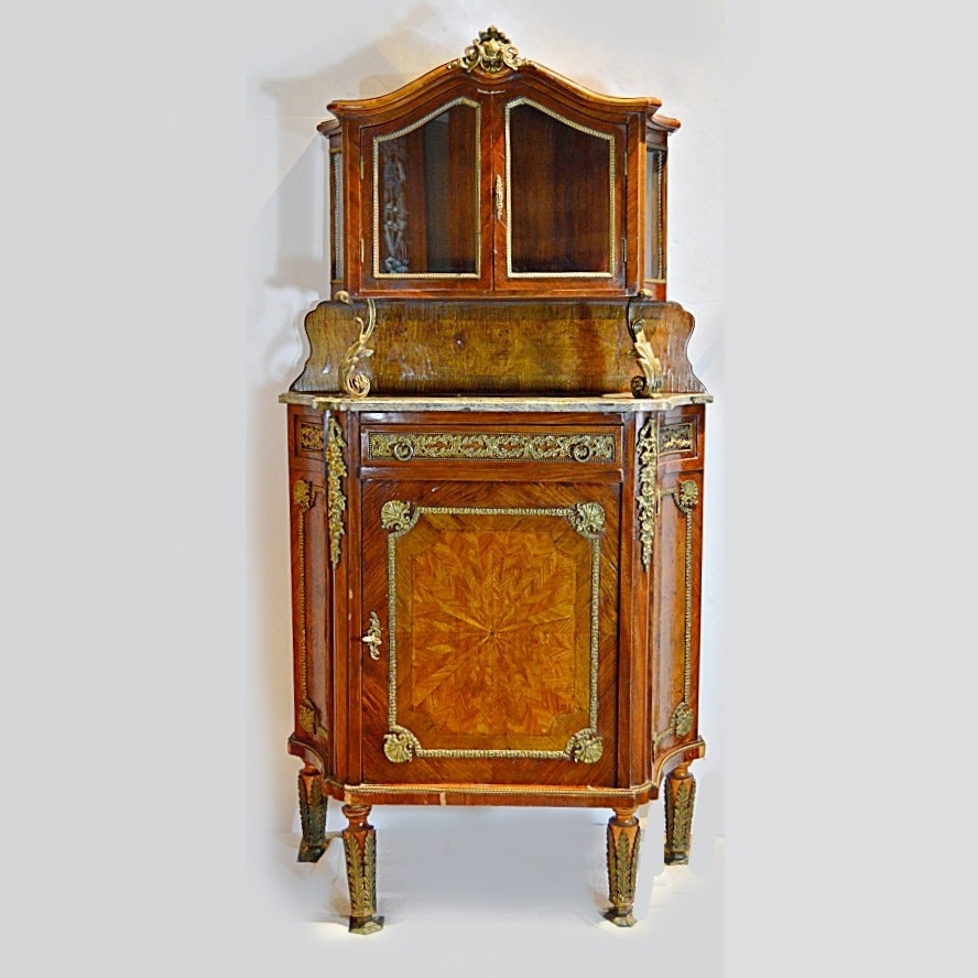 French Louis XVI Style Burl Mahogany/Elm Cabinet with Vitrine Top