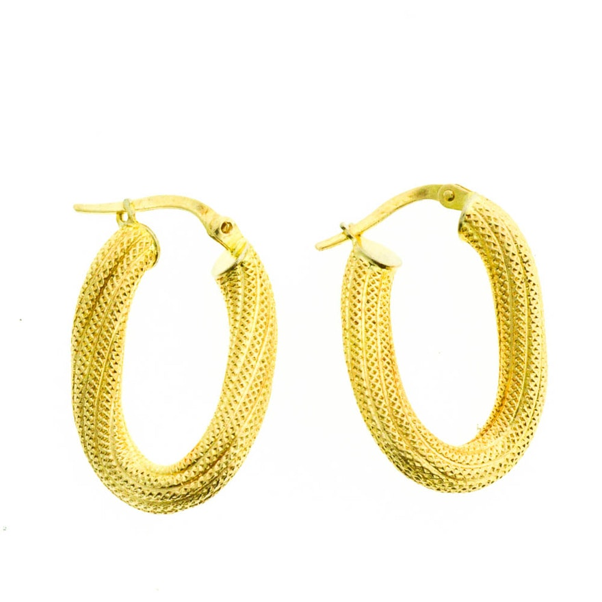 14k Yellow Gold Italian Twisted Rope Hoop Earrings