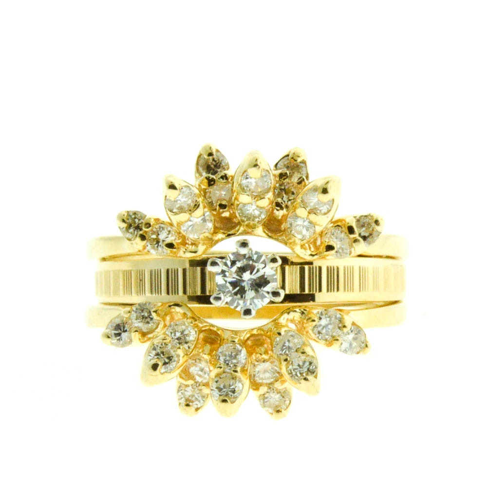 14K Yellow Gold Diamond Solitaire with Diamond Cluster Ring Guard