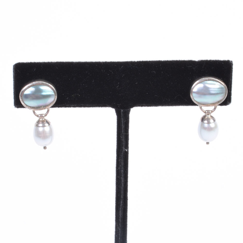 Sterling Silver Pearl and Mother of Pearl Drop Earrings