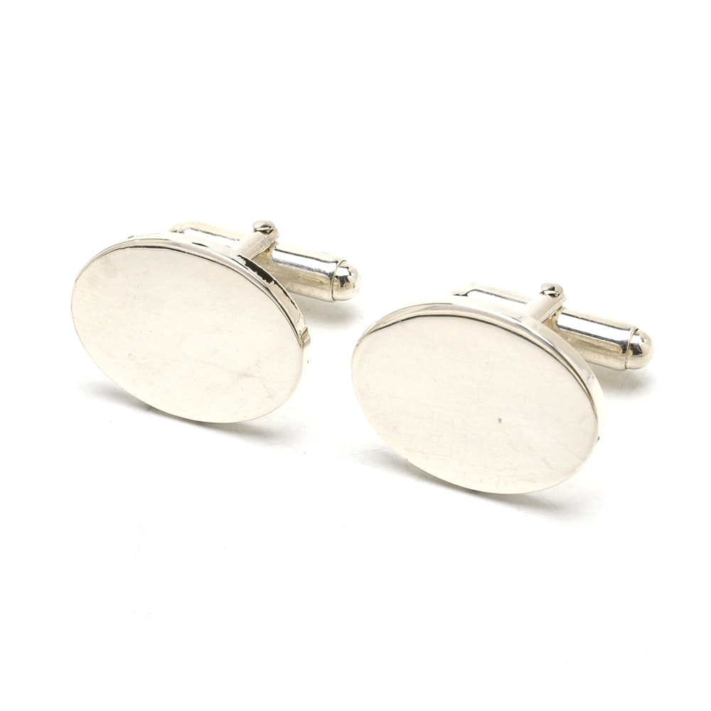 Men's Vintage Tiffany & Co. Sterling Silver Oval Cufflinks