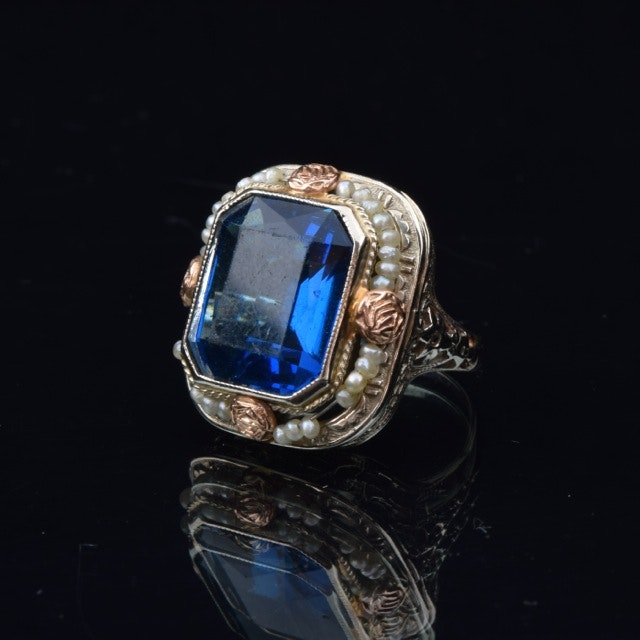 14K Gold Art Deco Blue Glass and Seed Pearl Ring