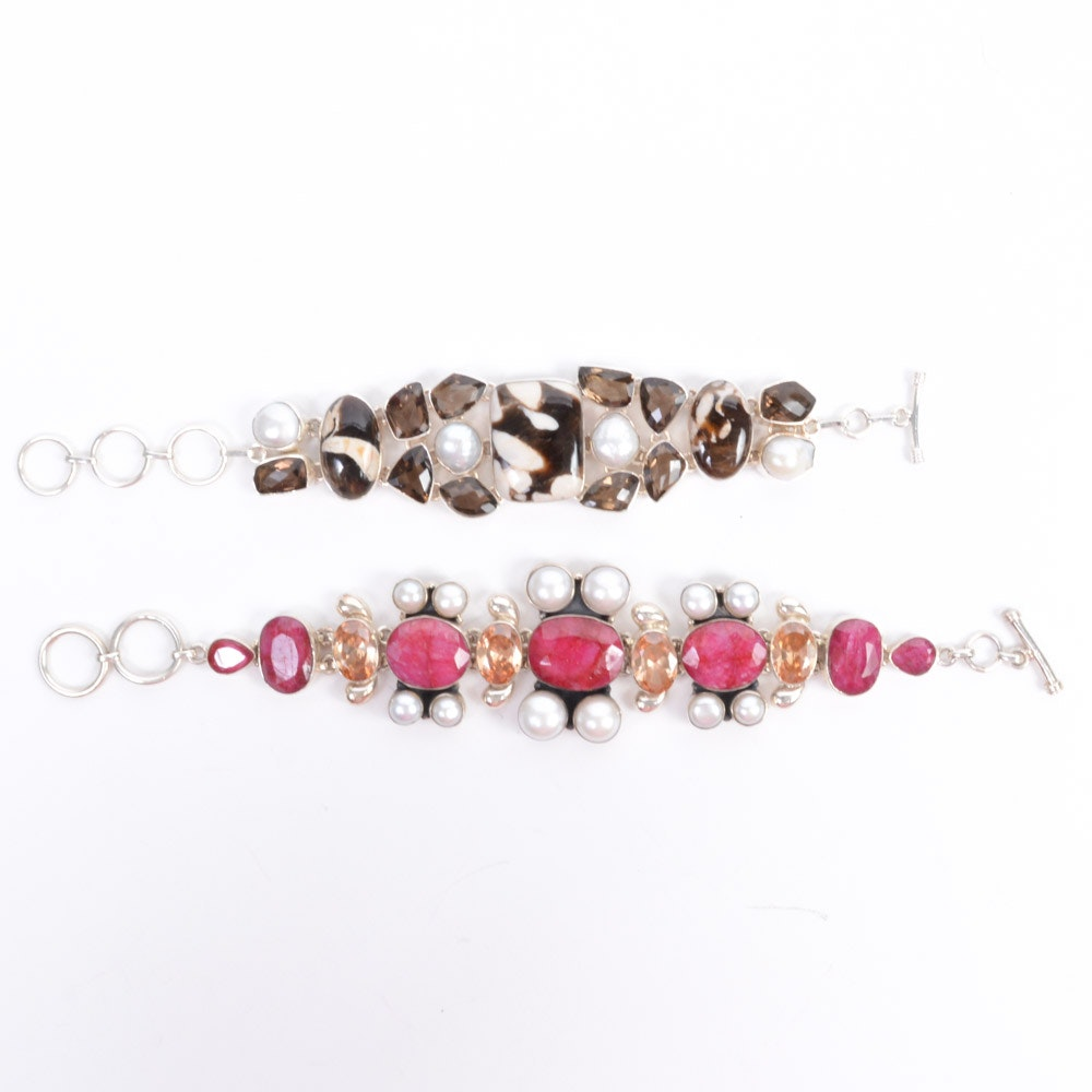Sterling Silver Bracelets With Gemstones and Pearls