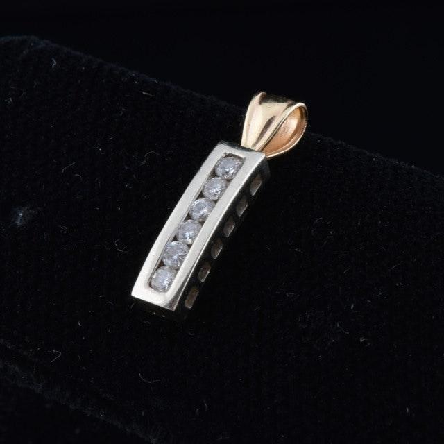 14K Yellow Gold and Diamond Pendant