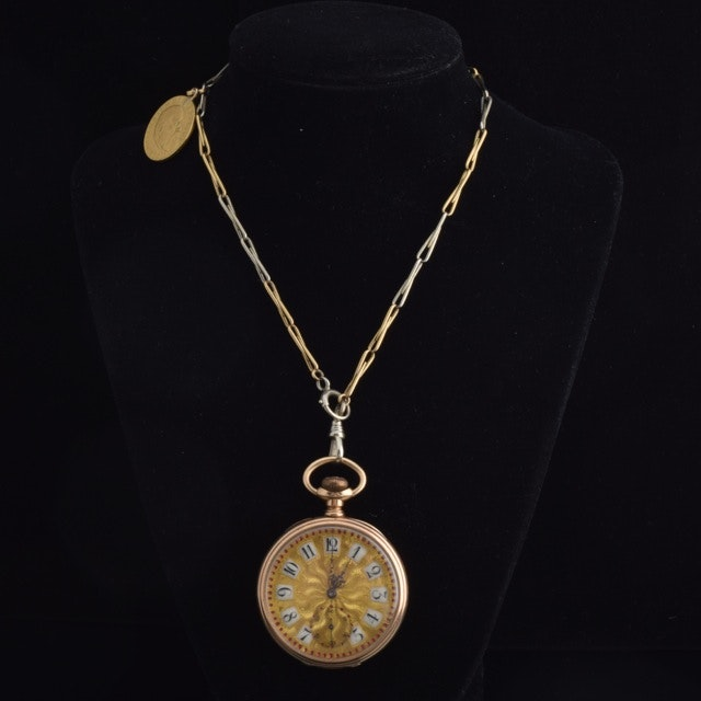 14K Yellow Gold Pocket Watch with an 18K Yellow Gold Chain