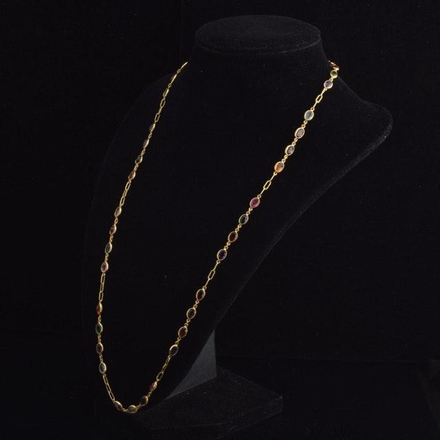 18K Yellow Gold Semi Precious Gemstone Necklace