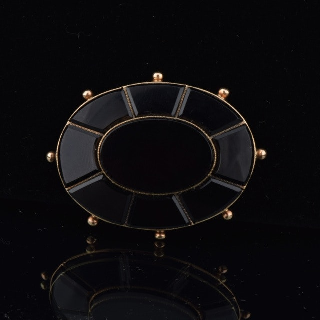 Victorian Onyx Mourning Brooch