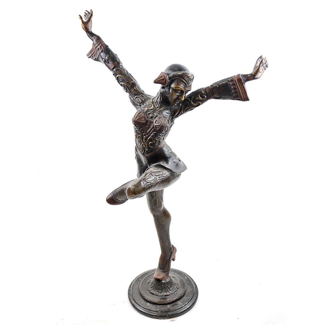 Bronze Harlequin Woman Sculpture