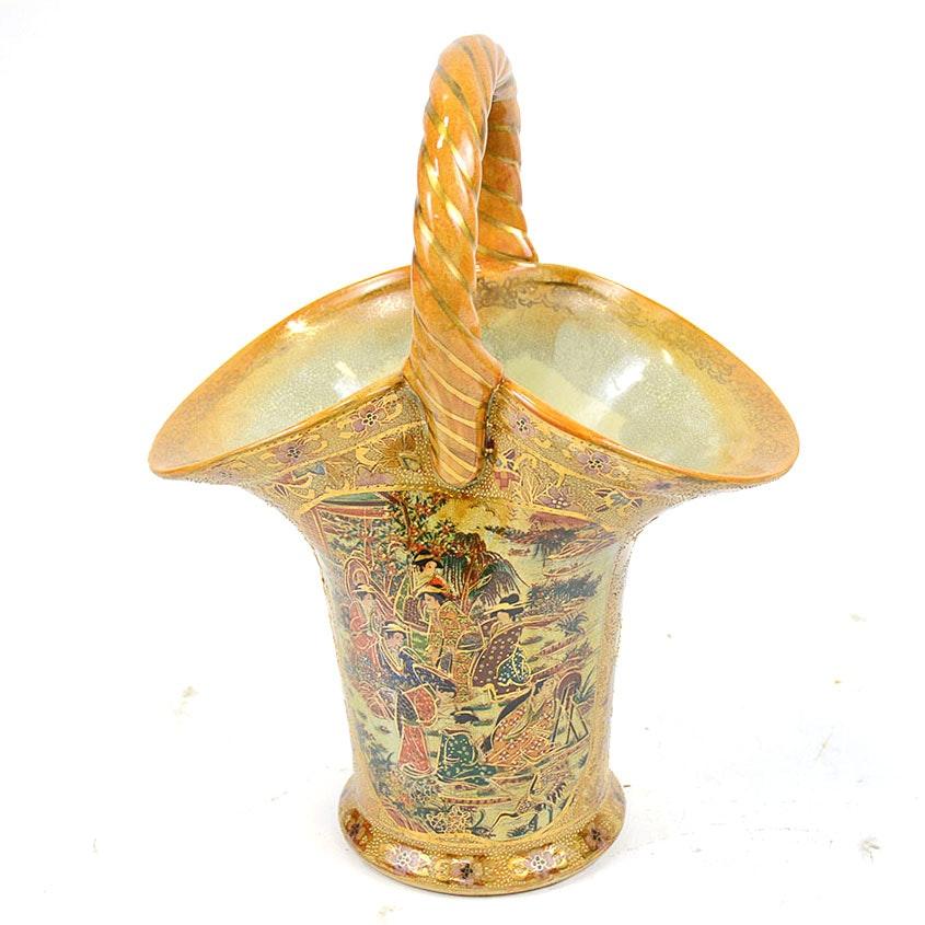 Hand Painted Gold Tone Chinese Satsuma Style Basket Vase