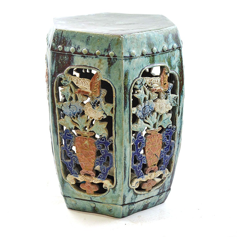 Antique Chinese Celadon Garden Stool EBTH