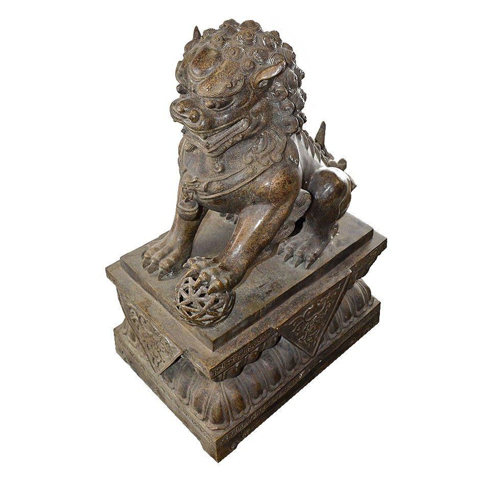 Antique Bronze Tone Metal Imperial Lion Statue