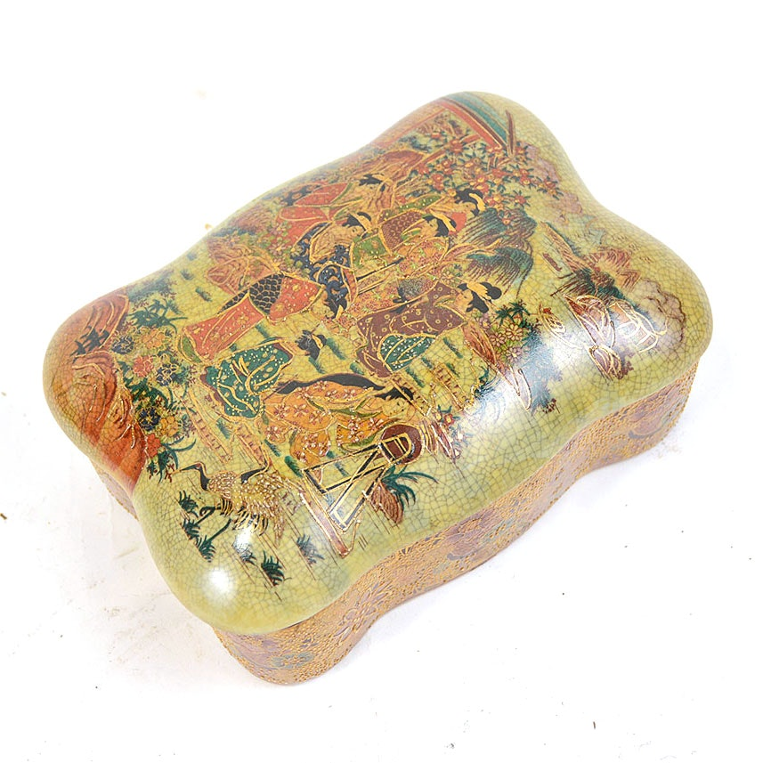 Hand Painted Gold Tone Chinese Satsuma Style Ceramic Box
