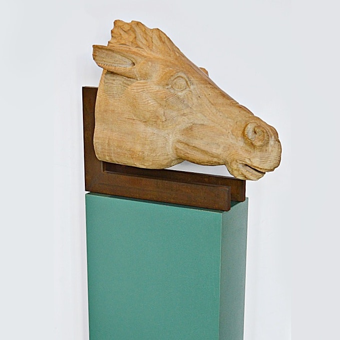 Hand Carved Wooden Horse Head Sculpture with Pedestal