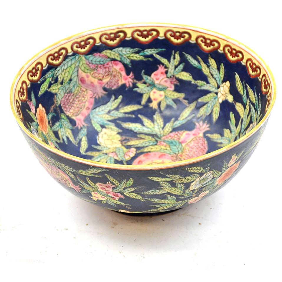 Vintage Chinese Stoneware Painted Bowl