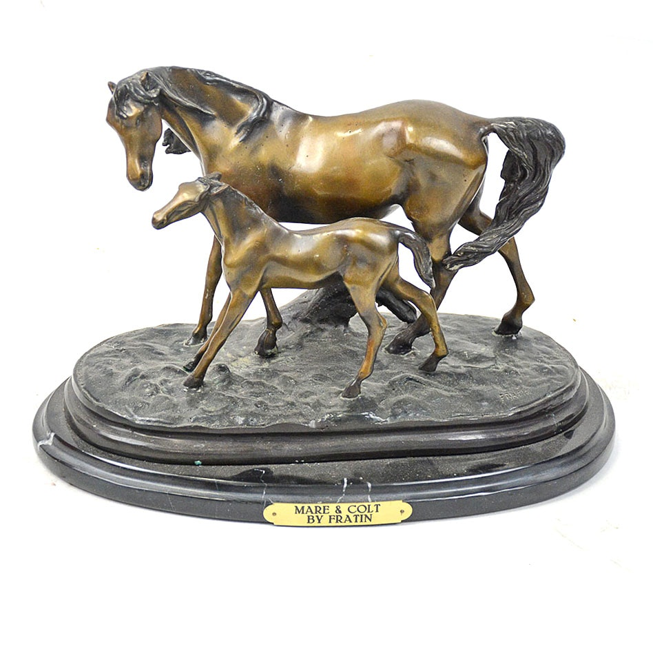 """Reproduction Bronze After Christopher Fratin """"Mare and Colt"""""""
