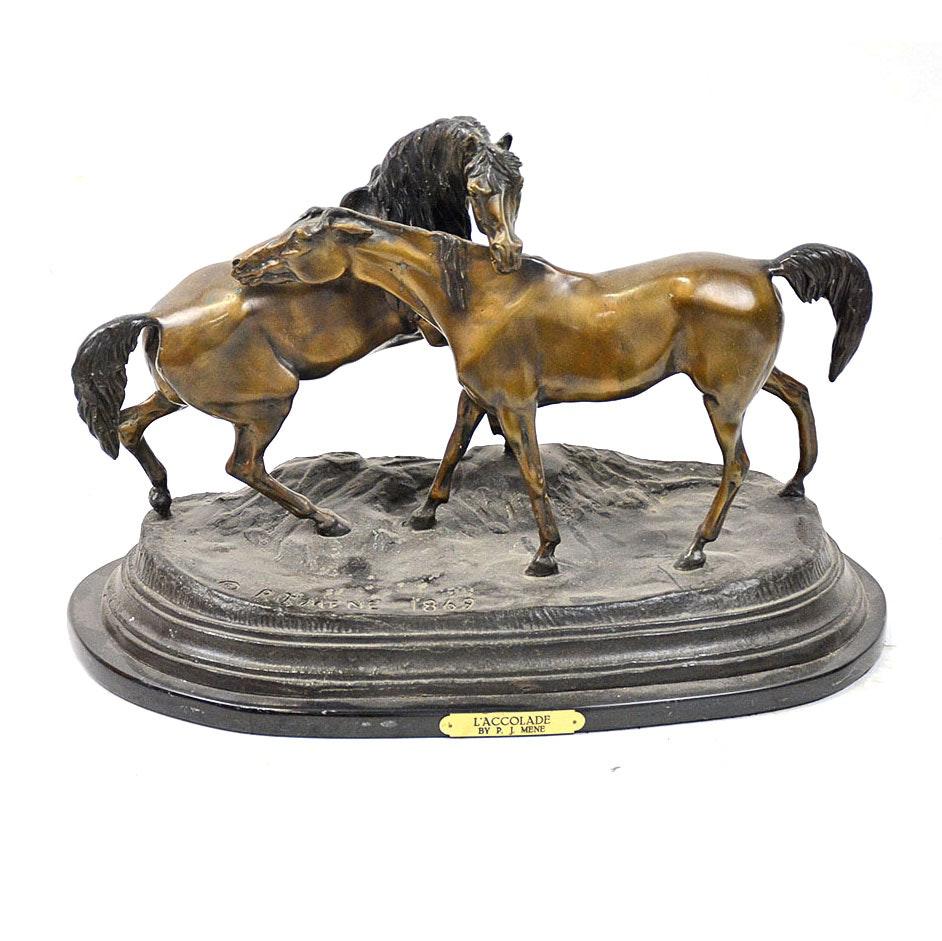 "Reproduction Bronze After P.J. Mêne ""L'Accolade"""
