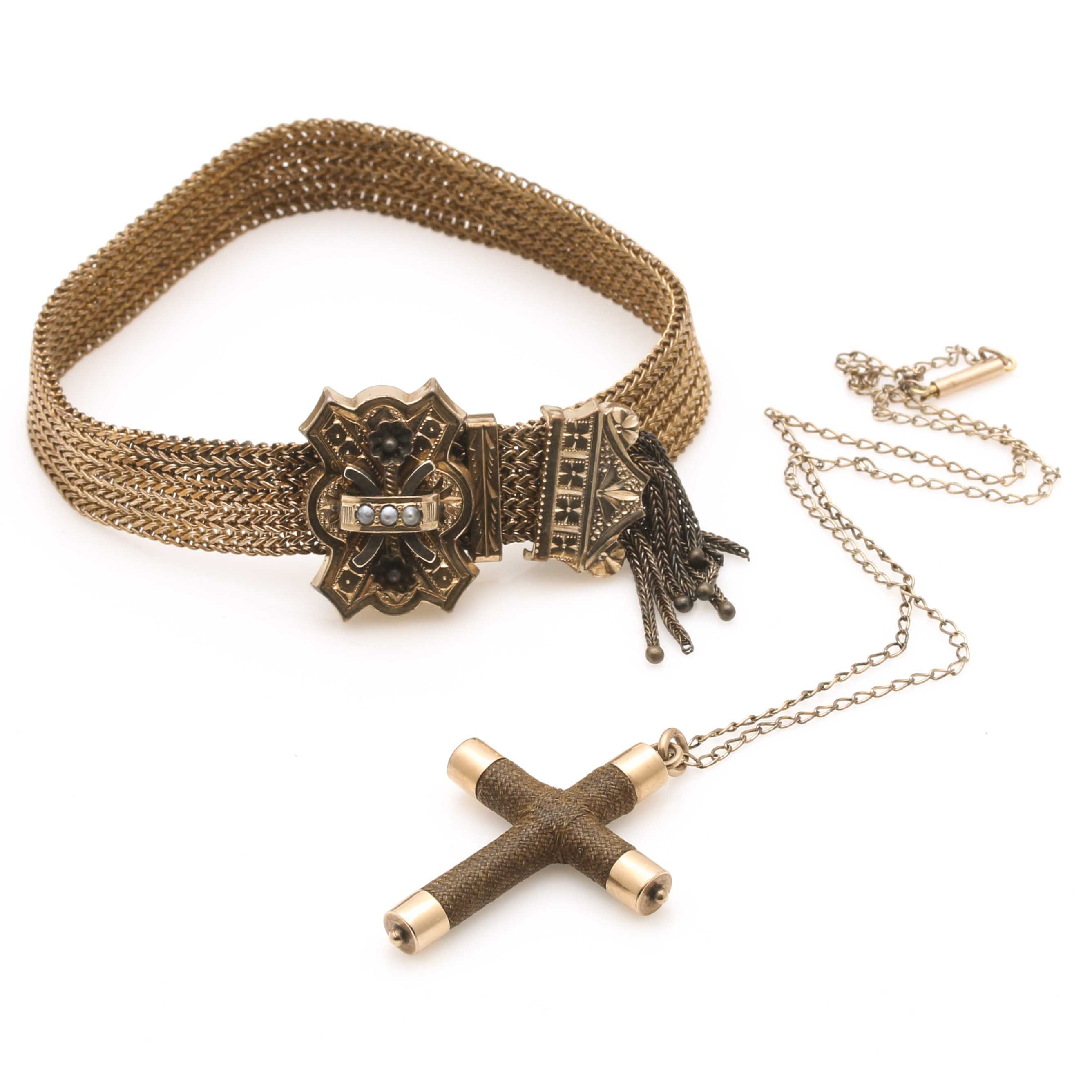 Victorian Gold Filled Bracelet and 10K Rose Gold Mourning Cross