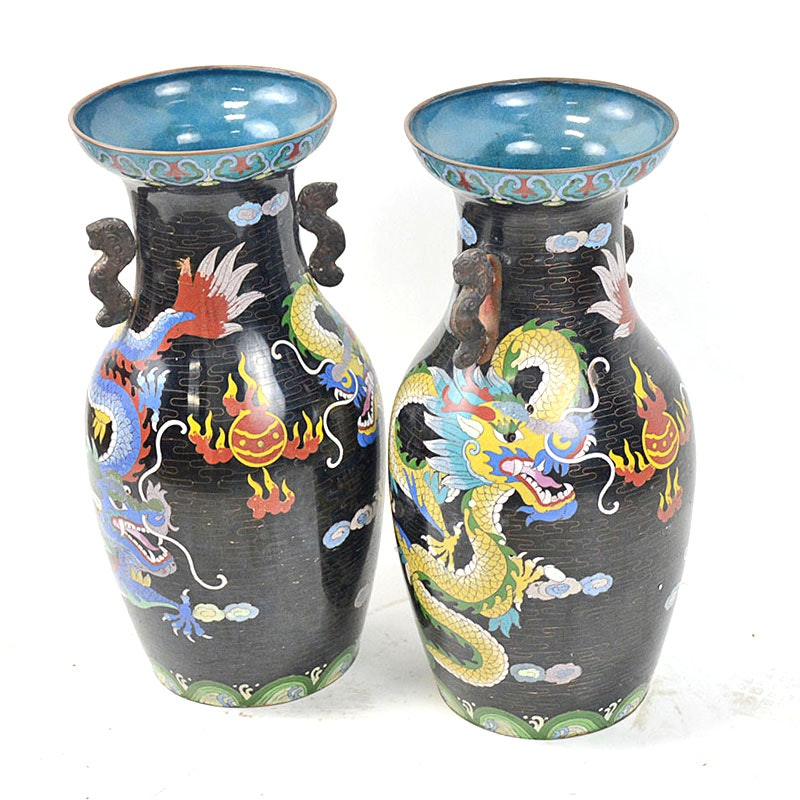 Pair of Chinese Black Cloisonné Vases